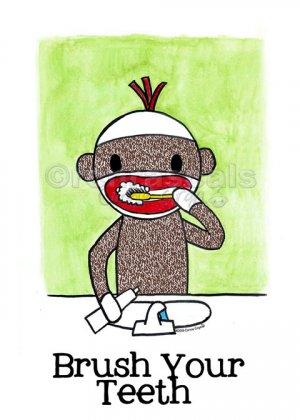 ART PRINT Sock Monkey Bath Room Reminders 4 x 6 (choice of 3)