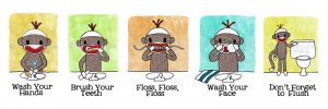 3-4x6's and 1-8x10 - combined shipping - Sock Monkey Bathroom Series