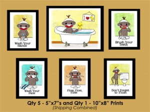 5-5x7's and 1-8x10 - combined shipping Sock Monkey Bathroom Series