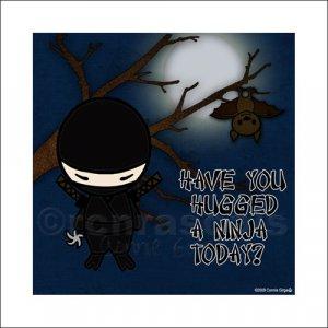 Ninja ART PRINT 8 x 8 (Hug a Ninja) Sad Ninja
