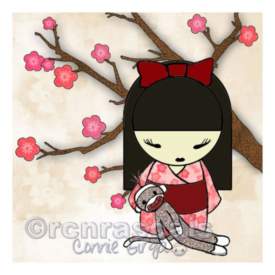 Kokeshi Doll Girl and Sock Monkey ART PRINT 5 x 5 (SM01)