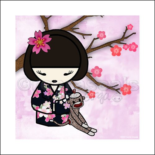 Kokeshi Doll Girl and Sock Monkey ART PRINT 5 x 5 (Dark kimono)