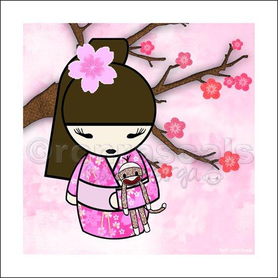 Kokeshi Doll Girl and Sock Monkey ART PRINT 5 x 5 (SM03-pinks/pony tail)