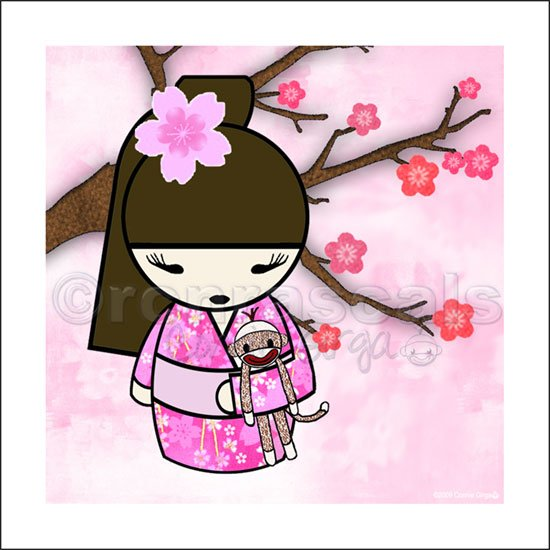 Kokeshi Doll Girl and Sock Monkey ART PRINT 8 x 8 (SM03-pinks/pony tail)