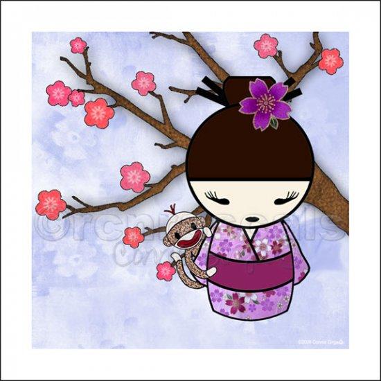 Kokeshi Doll Girl and Sock Monkey ART PRINT 5 x 5 (SM04-lavendars/bun)