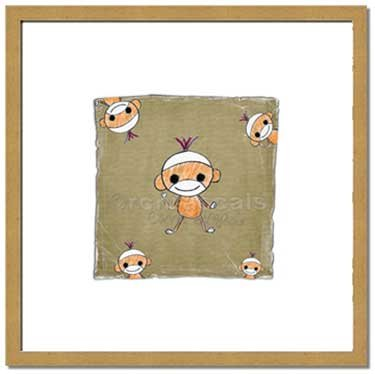 Monkey Square or Animal Friends ART PRINT 8 x 8 Square