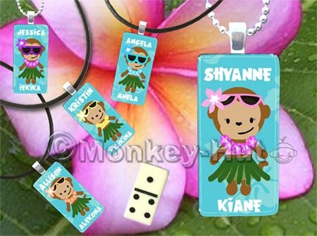 Monkey Miniature Domino Tile Pendant - Hula Monkey girl (personalized Hawaiian name)