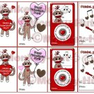 SOCK MONKEY Valentines Printable - Eight Mini Cards - 2.5 x 3.5 - in PDF format