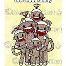 Sock Monkey Family Portrait PERSONALIZED Art Print 8x10 - your choice of number of children