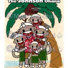 Sock Monkey Hawaiian Family Ohana Portrait PERSONALIZED 8x10 Art Print