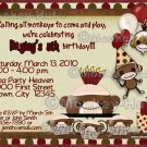 Sock Monkey Birthday Invitation (DIGITAL)