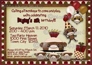 Sock Monkey Birthday Invitation (DIGITAL)