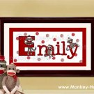 Sock Monkey Personalized Kid and Baby Wall Art 10x20 unframed
