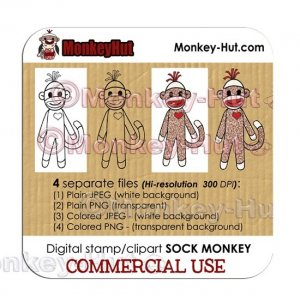 Sock Monkey Clip Art Digital Stamp CUTE - LIMITED COMMERCIAL USE