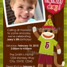 Sock Monkey Party Monkey Business Birthday Invitation (DIGITAL)