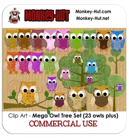 Owl Clip Art Set - Mega set - clipart trees branch COMMERCIAL USE