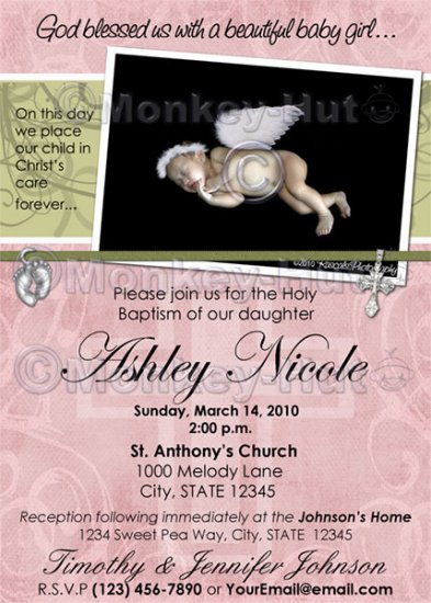 Baptism or Christening Personalized Custom Photo Invitation Baby Girl (DIGITAL)