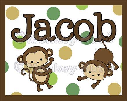 Monkey Monkeys Wall Art Name Print #2