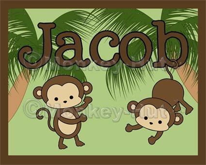 Monkey Monkeys Wall Art Name Print #3