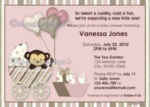 Monkey Baby Shower Invitation carriage pink MPP-P (DIGITAL)