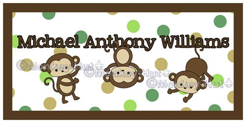 Monkey PERSONALIZED Name Kid and Baby Wall Art 10x20 unframed