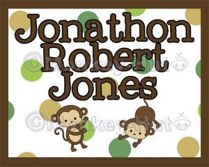 "Monkey Monkeys Wall Art Name Print #2 (11""x14"")"