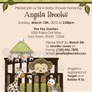 Jungle Monkey Baby Shower Invitation crib Original Beige/Green colors CA-C (DIGITAL)