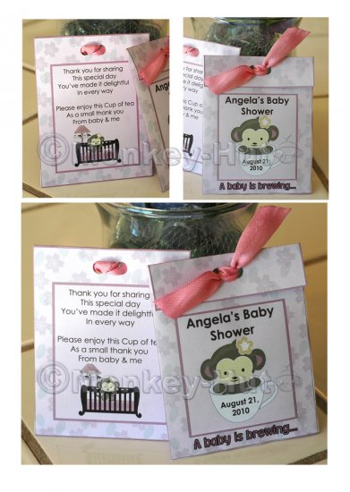 Personalized baby shower TEA BAG or LEMONADE PACKET favors PDF file Cocalo Jacana
