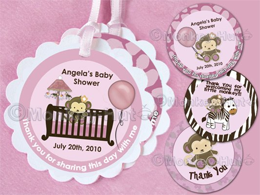 Monkey Baby Shower Tags (favor, cupcake topper) circle OR square