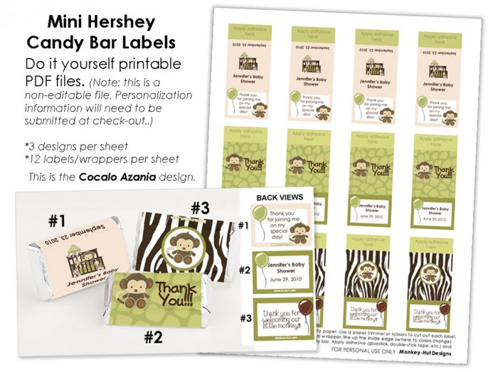 Jungle Monkey Personalized BABY SHOWER mini candy wrapper wrappers favor favors