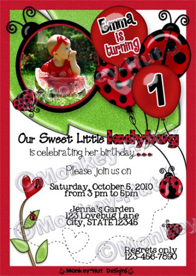 Sweet Ladybug Lovebug Birthday Invitation red black girl (DIGITAL)