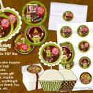 Sock Monkey Party Tags (favor, cupcake topper) personalized circle shape photo