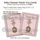 Monkey Baby Shower Thank You card cards PDF printable DIY - PINK