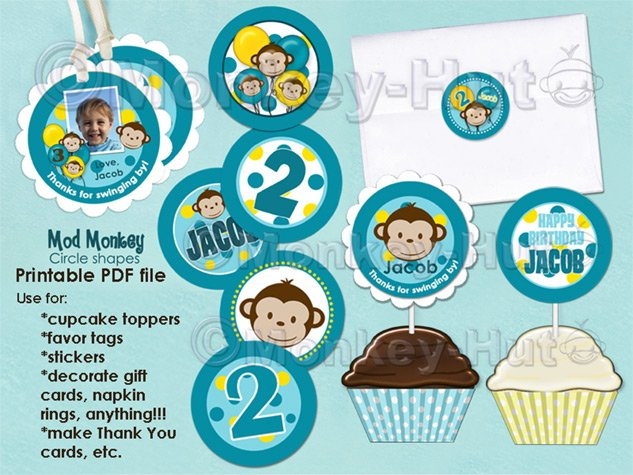 Printable PDF Cupcake Toppers, Favor Tags, Stickers
