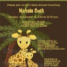 Adorable GIRAFFE Baby Shower invitation - jungle safari theme (DIGITAL)