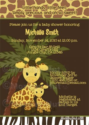 Adorable giraffe baby shower invitation jungle safari for Baby shower party junge