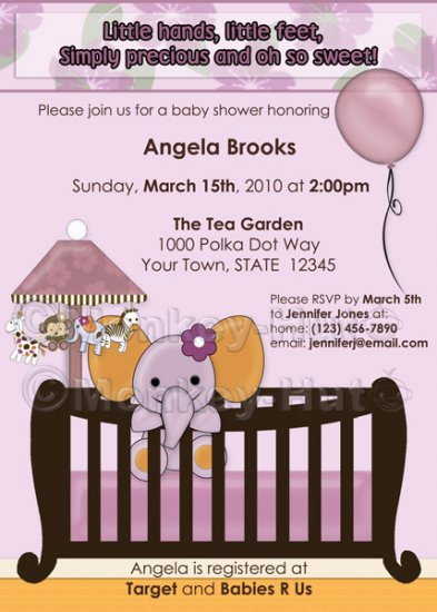 ELEPHANT Baby Shower invitation crib Orchid lavender/pink/purple CJE-O (DIGITAL)