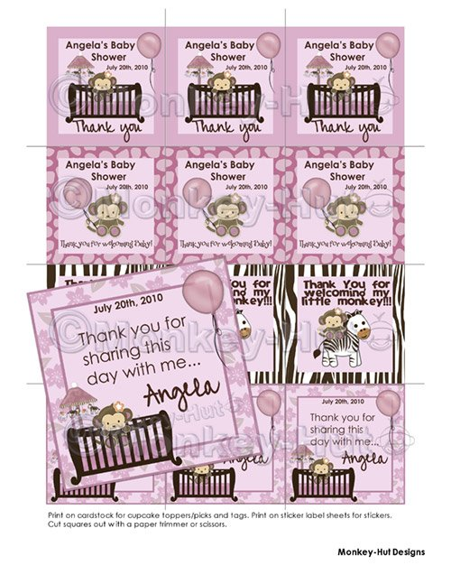 Monkey Baby Shower Tags SQUARE (favors, stickers, etc.)