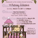 Jungle Monkey Baby Shower Invitation crib Orchid lavenders/pinks CA-O (DIGITAL)