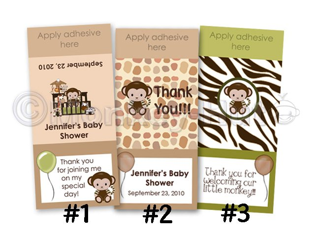 Monkey Personalized BABY SHOWER mini candy wrapper wrappers favor favors (CN jungle safari)