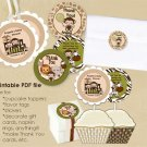 Monkey Personalized Baby Shower Tags (favor, cupcake topper) circle shape (CN jungle safari)