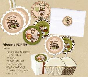 Monkey Personalized Baby Shower Tags (favor, cupcake topper) circle shape (CN jungle safari)