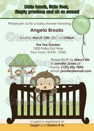 Monkey Baby Shower invitation crib Green CJ-G (DIGITAL)