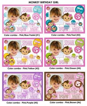 Monkey Girl Birthday Invitation Digital (several colors available)