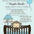 Monkey Baby Shower invitation crib Blue CJ-B (DIGITAL)