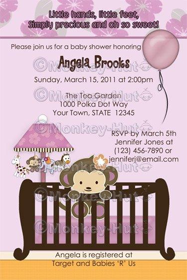 Monkey Baby Shower invitation crib Original Orchid lavendar/pink/purple CJ-O (DIGITAL)