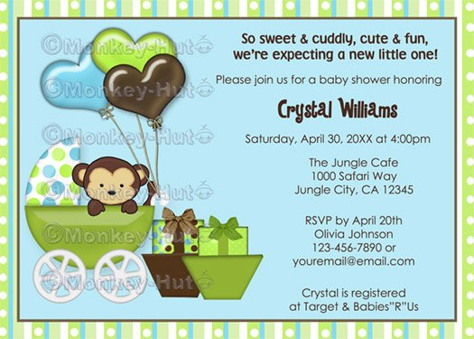 Monkey Baby Shower Invitation Carriage MPP-blue/green (DIGITAL)