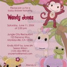 Sweet Jungle Babies Monkey Baby Shower Invitation SJB (Digital file)