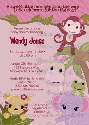 Sweet Jungle Babies Monkey Baby Shower Invitation SJB (Digital file)