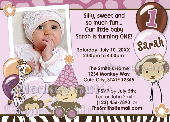 Monkey Birthday 1-year invitation Orchid (DIGITAL) - select style